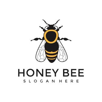 Modèle de logo d'abeille à miel