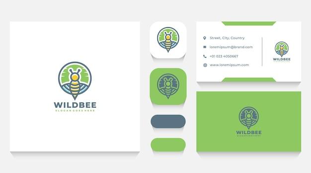 Modèle de logo d'abeille sauvage et carte de visite