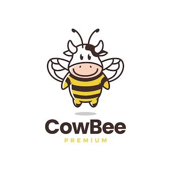 Modèle de logo d'abeille vache