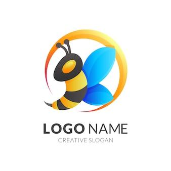 Modèle de logo abstrait abeille animale, icônes colorées 3de