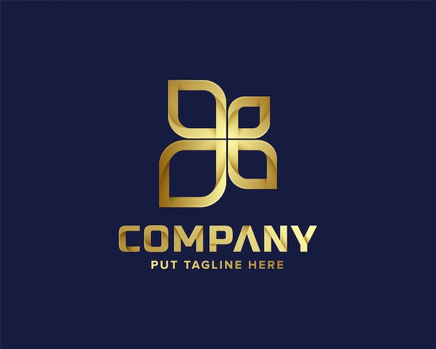 Modèle de logo abstrait affaires doré