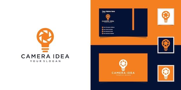 Modèle de logo abstrait d'ampoule de caméra d'obturation et carte de visite