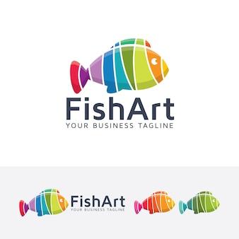 Modèle de logo abstrait art poisson