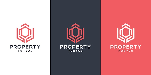 Modèle de logo abstrait bâtiment et mains. inspiration de conception de logo immobilier