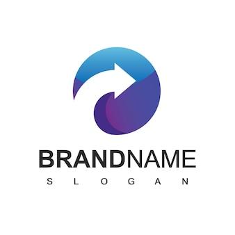 Modèle de logo abstrait cercle flèche