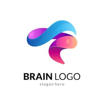 Modèle de logo abstrait cerveau