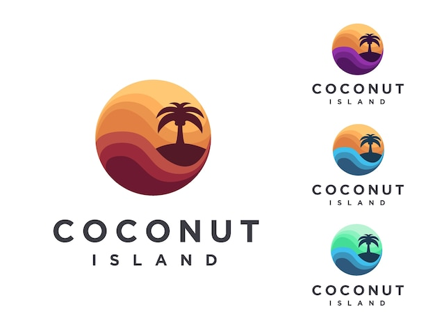 Modèle de logo abstrait coloré île de noix de coco tropicale