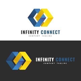 Modèle de logo abstrait. création de logo infinity. deux figures interconnectées symbolisant le contact à l'infini