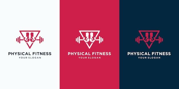 Modèle de logo abstrait fitness humain créatif