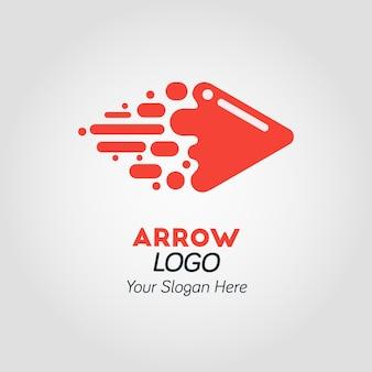 Modèle de logo abstrait flèche rouge