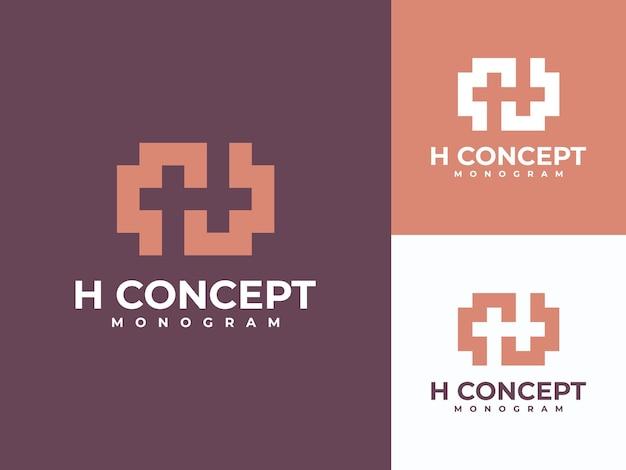 Modèle de logo abstrait initiales h, monogramme lettre h