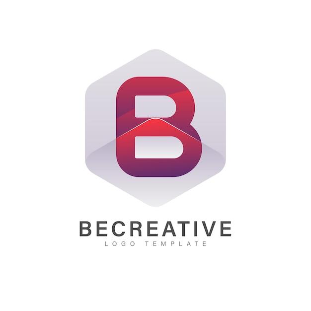 Modèle de logo abstrait lettre b avec dégradé