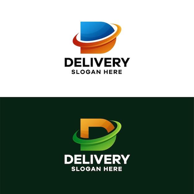 Modèle de logo abstrait lettre d dégradé