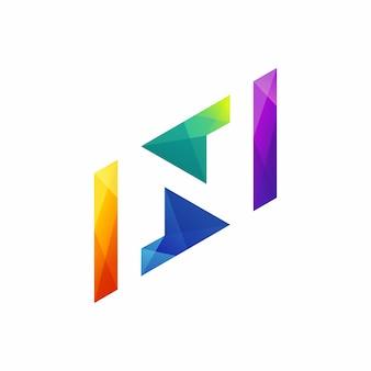 Modèle de logo abstrait lettre n