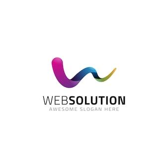 Modèle de logo abstrait lettre w
