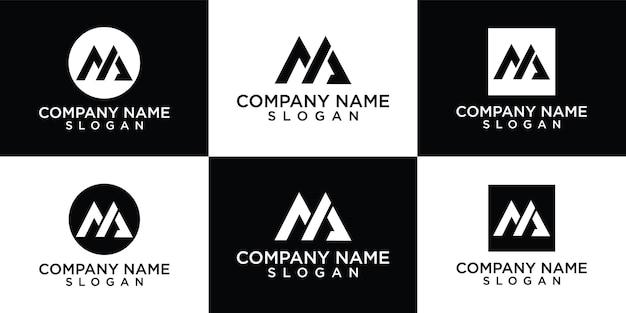 Modèle de logo abstrait monogramme lettre m