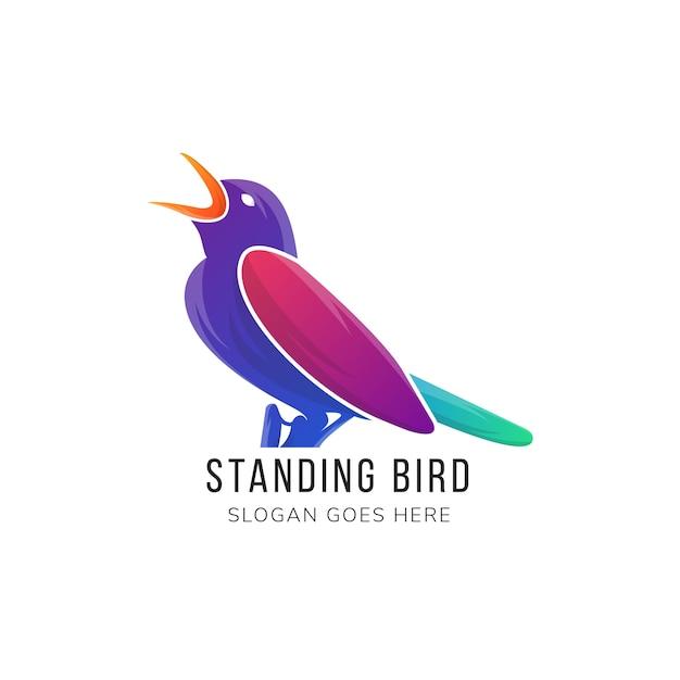 Modèle de logo abstrait oiseau debout.
