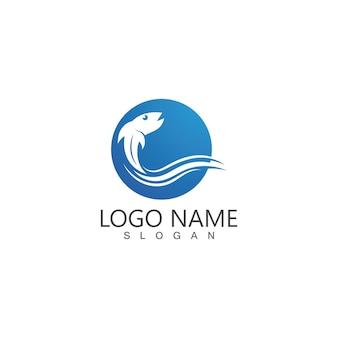 Modèle de logo abstrait poisson