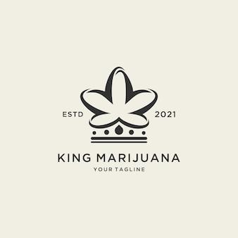 Modèle de logo abstrait roi marijuana