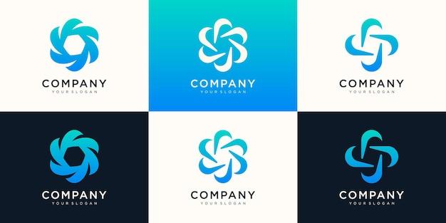 Modèle de logo abstrait swoosh spinning whirl. utiliser le logo pour la technologie numérique