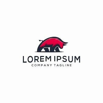 Modèle de logo abstrait taureau