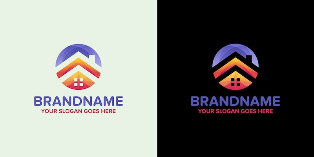 Modèle de logo d'agence colorée immobilier