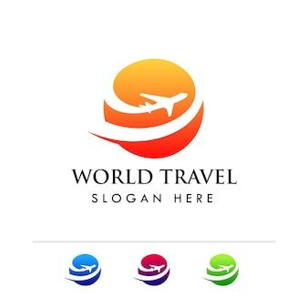 Modèle de logo de l'agence de voyages mondiale