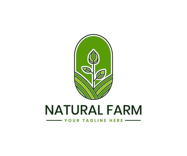 Modèle de logo d'agriculture biologique avec marque de produit biologique de plante de paysage de champ d'agriculture verte
