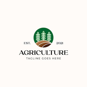 Modèle de logo d'agriculture de feuille