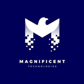 Modèle de logo aigle avec lettre m pixélisée