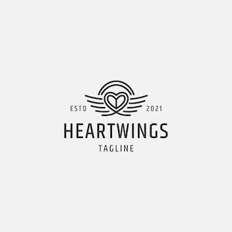 Modèle de logo d'ailes de coeur