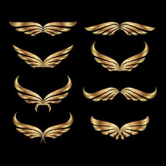 Modèle de logo ailes dorées