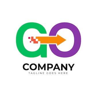 Modèle de logo aller design plat