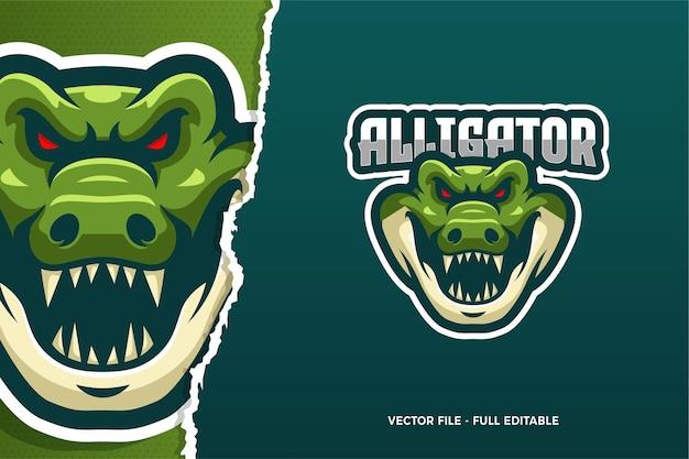 Modèle de logo alligator e-sport