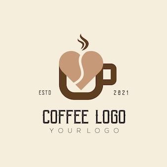 Modèle de logo d'amour de café