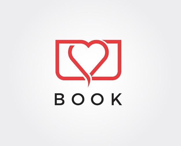 Modèle de logo d'amour de livre minimal