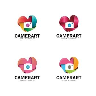 Modèle de logo d'amour d'obturateur de caméra. logo d'art d'appareil photo, logo de photo d'appareil photo