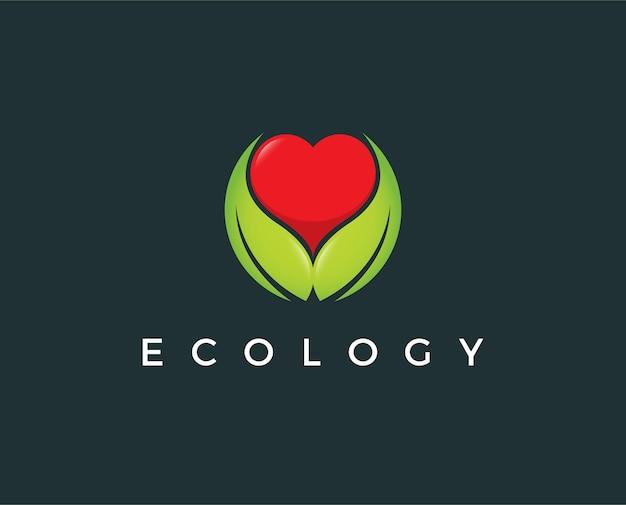Modèle de logo d'amour vert minimal