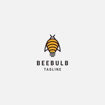 Modèle de logo d'ampoule d'abeille