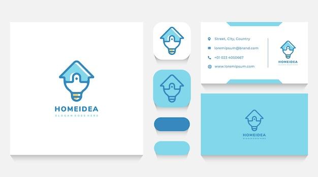 Modèle De Logo D'ampoule D'idée De Maison Et Carte De Visite Vecteur Premium