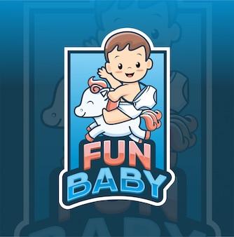 Modèle de logo amusant bébé avec cheval