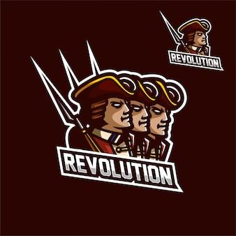 Modèle de logo angleterre révolution armée logo de mascotte esport