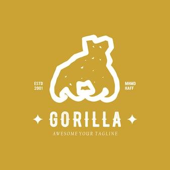 Modèle de logo animal art ligne gorille