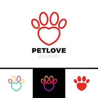 Modèle de logo d'animal familier d'amour ou de patte de coeur