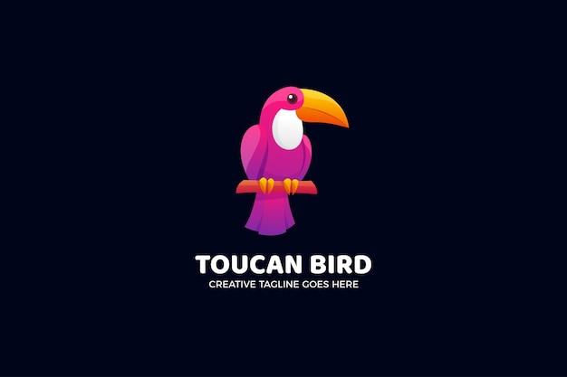 Modèle de logo animal oiseau toucan rose