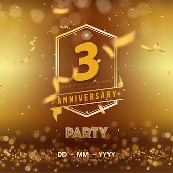 Modèle de logo anniversaire 3 ans sur or