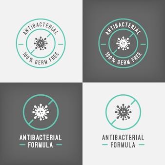 Modèle de logo antibactérien argent