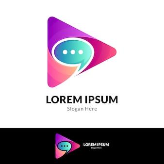 Modèle de logo d'application de chat multimédia