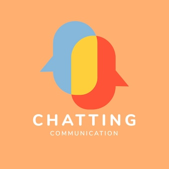 Modèle de logo d'application de discussion, vecteur de conception de marque d'entreprise, texte de communication de discussion