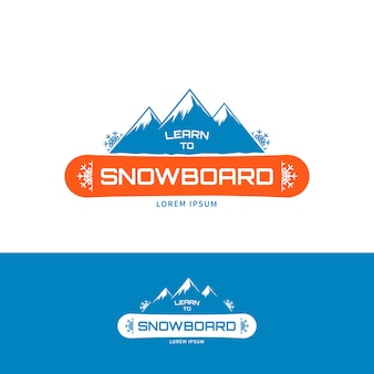 Modèle de logo apprendre à faire du snowboard.